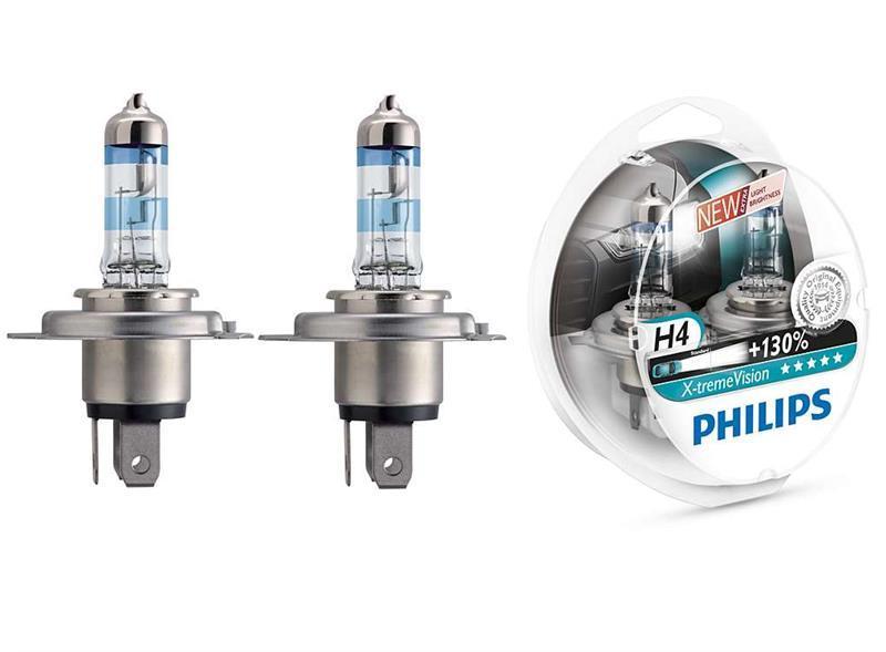 Лампа галогенная Philips H4 X-treme VISION +130%, 2шт/блистер