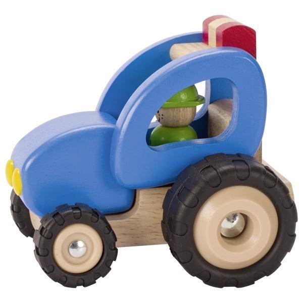Машинка деревянная goki Трактор (синий) 55928G
