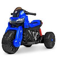 Детский электромобиль Мотоцикл M 4193 EL-4, EVA колеса, Кожаное сиденье, синий