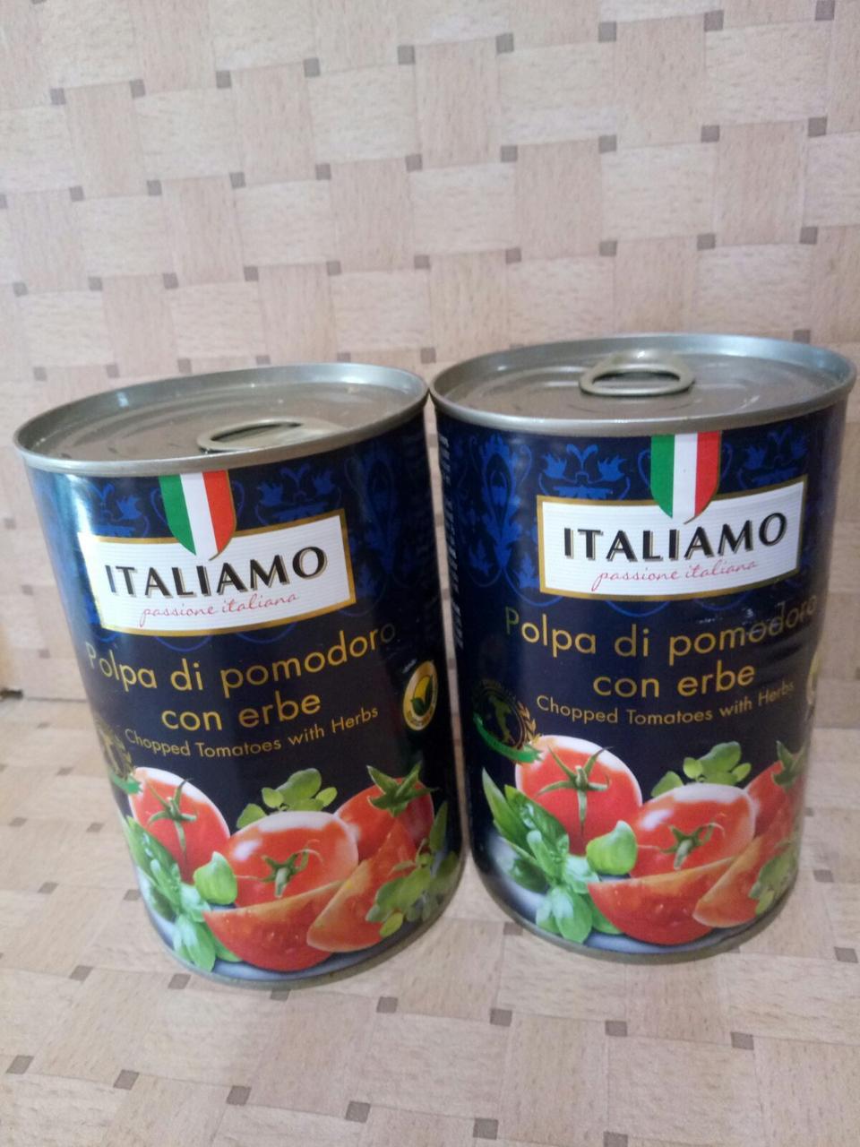 Томаты в собственном соку с зеленью Italiamo, 400 г (Италия)