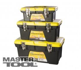 """MasterTool  Ящики для инструмента комплект 3шт.13""""+16""""+19"""", съемные органайзеры, мет. замки"""