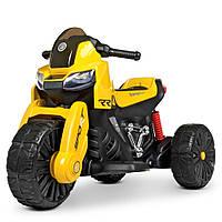 Детский электромобиль Мотоцикл M 4193 EL-6, EVA колеса, Кожаное сиденье, жедтый