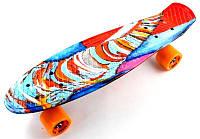 Пенни борд Скейтборд пенни 22 дюйма Penny Board Скейт 55х15 см Funny elephant до 80 кг Матовые колеса, фото 1