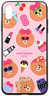 Чехол-накладка TOTO Cartoon Print Glass Case для Apple iPhone X XS Line friends Linc 93390, КОД: 1294145