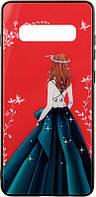 Чехол-накладка TOTO Glass Fashionable Case Samsung Galaxy S10+ Green Dress Girl 92564, КОД: 1294517