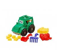 """KM0336 Сортер-трактор """"Кузнечик"""" №2: трактор с вкладышами, лопатка и грабельки (ЛГ4), две большие пасочки"""