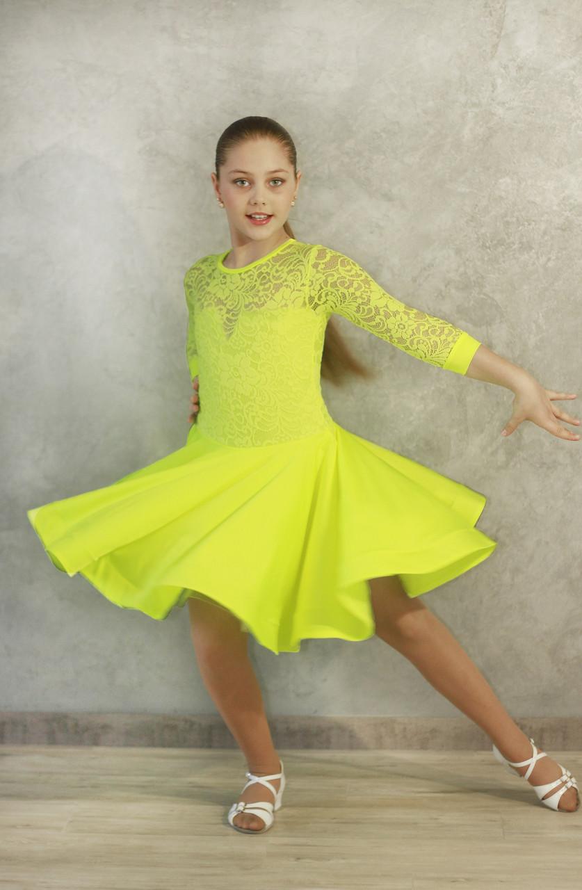 Рейтинговое платье Бейсик для бальных танцев Sevenstore 9105 Лимон