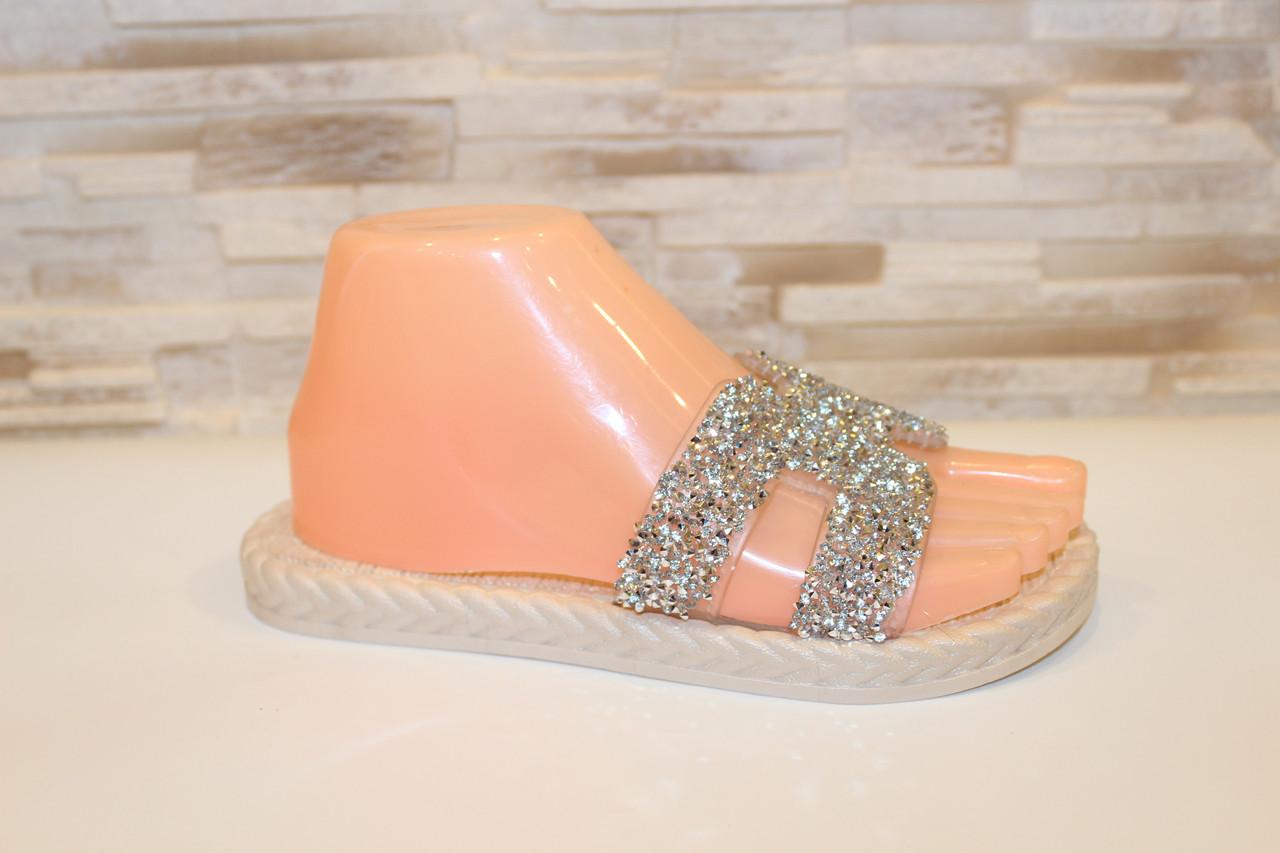 Шлепанцы женские серебристые силиконовые Б1015