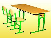 Комплект: Парта детская, 2-местная, с полкой, ростовых групп № 1,2,3 — 1200х500х460-580 мм + 2 стульчика