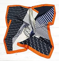 Шелковый шейный платок Fashion Клара 70х70 см графит/оранжевый