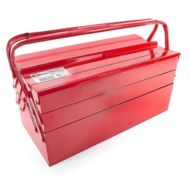 Ящик для инструментов металлический 450 мм, 5 секций INTERTOOL HT-5045, красный.