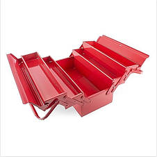 Ящик для инструментов металлический 450 мм, 5 секций INTERTOOL HT-5045, красный., фото 2