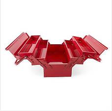 Ящик для инструментов металлический 450 мм, 5 секций INTERTOOL HT-5045, красный., фото 3
