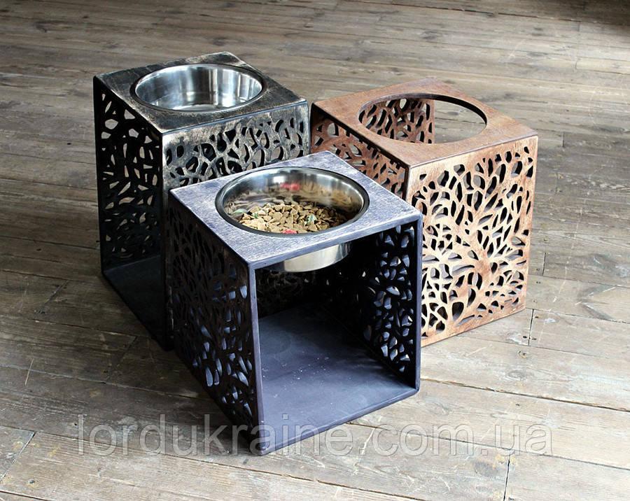 КІТ-ПЕС by smartwood Мискa на подставке | Миска-кормушка металлическая для собак щенков - 1 миска 4500 мл
