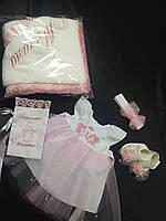 """Детский крестильный набор """"Милана"""" платье с вышивкой для крещения + повязочка+ крыжма+пинетки+ подарок"""