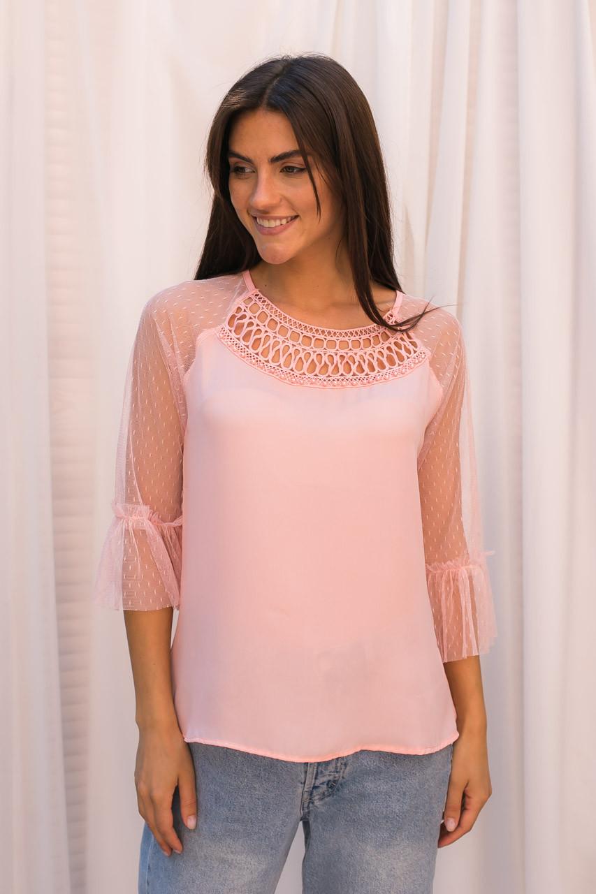 Шифоновая блуза с рукавами из фатина Hello Kiss! - розовый цвет, S (есть размеры)