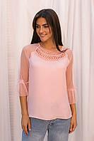 Шифоновая блуза с рукавами из фатина Hello Kiss! - розовый цвет, S (есть размеры), фото 1