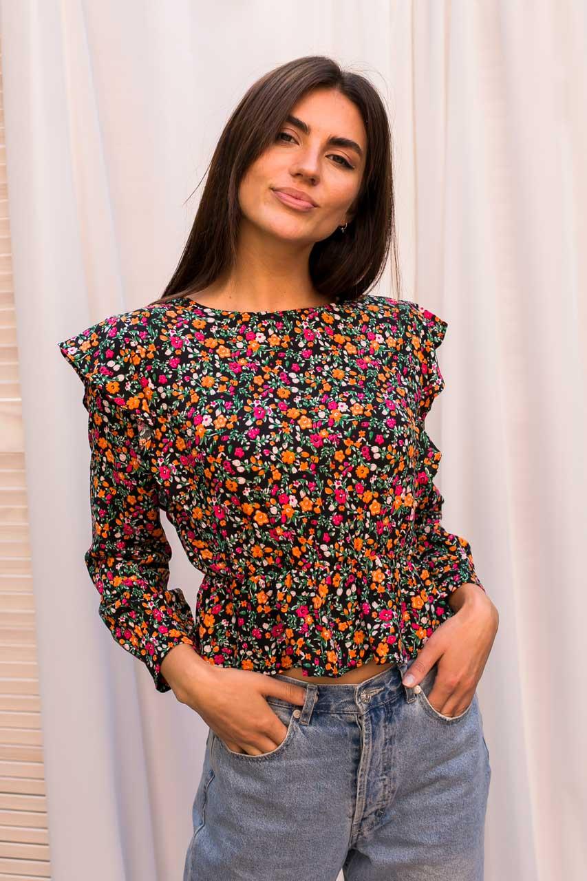 Оригинальная укороченная блуза с рюшами и цветочным принтом Crep - розовый цвет, M (есть размеры)