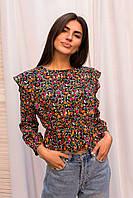 Оригинальная укороченная блуза с рюшами и цветочным принтом Crep - розовый цвет, M (есть размеры), фото 1
