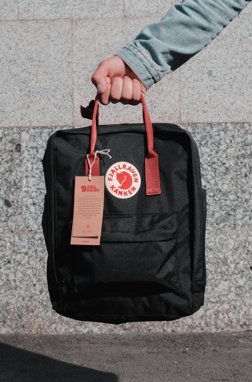 Городской Рюкзак Fjallraven Kanken Classic 16 л Черный с бордовыми ручками