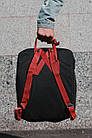 Городской Рюкзак Fjallraven Kanken Classic 16 л Черный с бордовыми ручками, фото 2