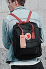Городской Рюкзак Fjallraven Kanken Classic 16 л Черный с бордовыми ручками, фото 3