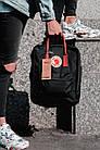 Городской Рюкзак Fjallraven Kanken Classic 16 л Черный с бордовыми ручками, фото 4