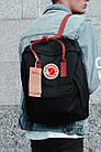Городской Рюкзак Fjallraven Kanken Classic 16 л Черный с бордовыми ручками, фото 5