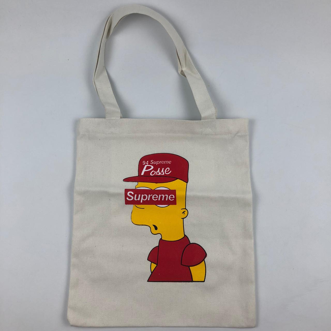 Тканевая Эко Сумка Шоппер Supreme Simpson Симпсон Bart Барт Белая