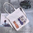 Тканевая Эко Сумка Шоппер City-A Cats Пять Котов Белая, фото 2