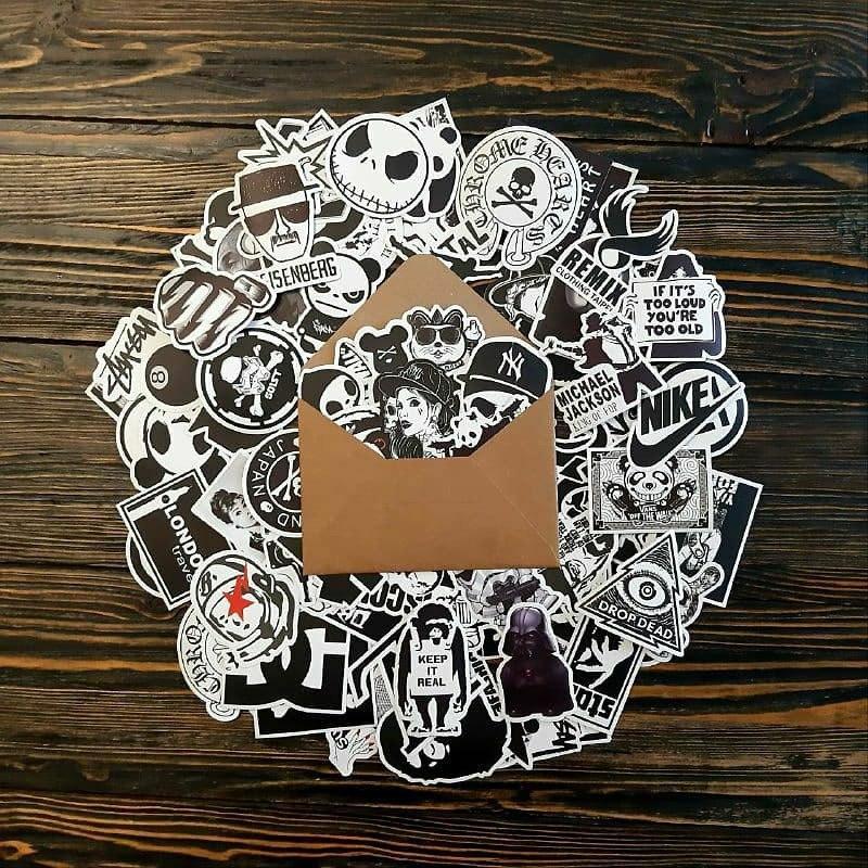 Водоотталкивающие стикеры на ноутбук, авто, скейт Стикербомбинг, виниловые наклейки НАБОР ЧБ - 25 шт