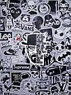 Водоотталкивающие стикеры на ноутбук, авто, скейт Стикербомбинг, виниловые наклейки НАБОР ЧБ 100 шт, фото 3