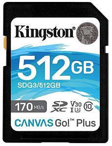 Карта памяти Kingston SDXC 512GB Canvas Go! Plus Class 10 UHS-I U3 V30 (SDG3/512GB) (6570981)