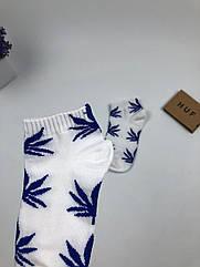 Носки HUF Plantlife низкие - белые синий лист