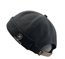 Байкерская Кепка бескозырка Docker Geegen Domog HUF с кожаным ремешком черная