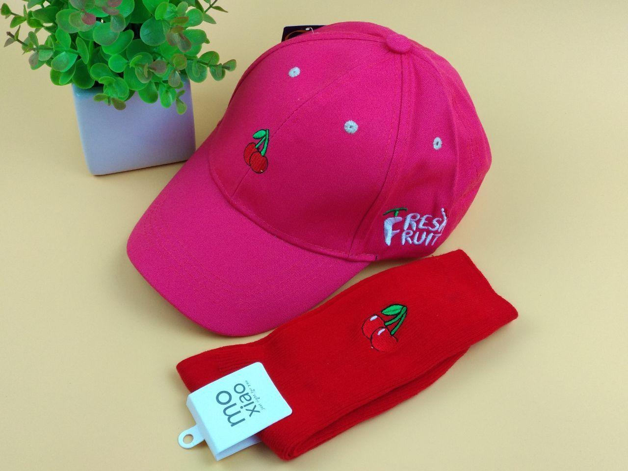 Комплект Кепка бейсболка Fresh Fruit Вишня (малиновая) + Носки красные