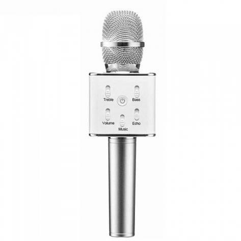 Беспроводной микрофон караоке блютуз Q7 Bluetooth динамик USB СЕРЫЙ В ЧЕХЛЕ, фото 2
