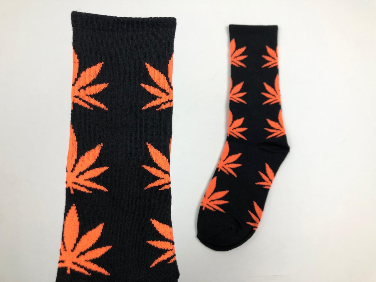 Носки HUF Plantilife - высокие - черные оранжевый лист