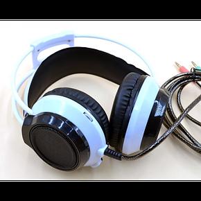 Игровые проводные наушники MISDE G5 со светодиодной подсветкой Белые с чёрным, фото 2