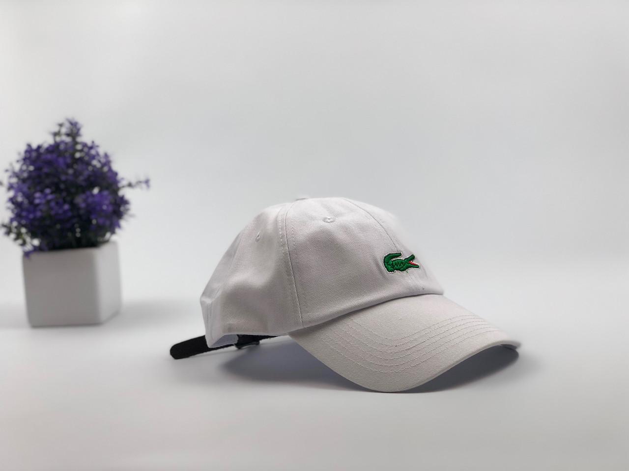 Кепка бейсболка Lacoste кожаный ремешок (белая)