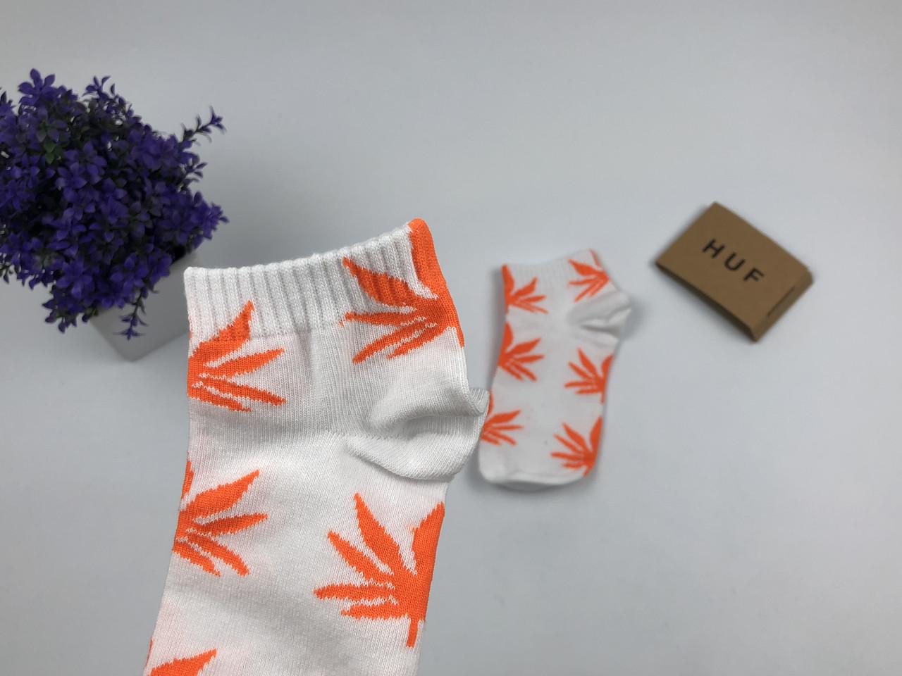 Носки HUF Plantlife низкие - белые оранжевый лист