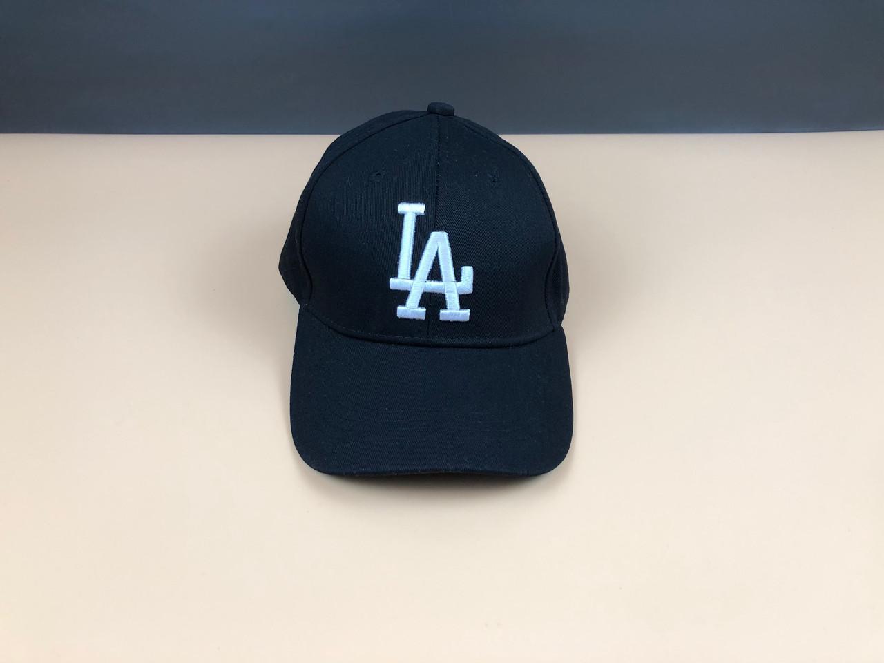 Кепка бейсболка Los Angeles LA (черная, белое лого, без наклейки)
