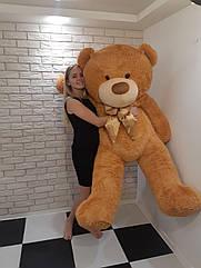 Большой мягкий Медведь - Светло-Коричневый с бежевой лентой - 2 метра (200 см)