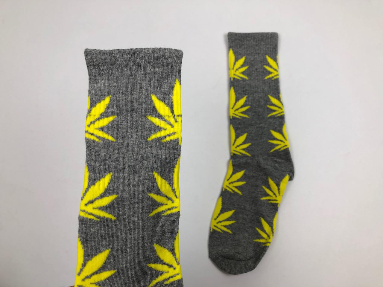 Носки HUF Plantilife - высокие - серые желтый лист