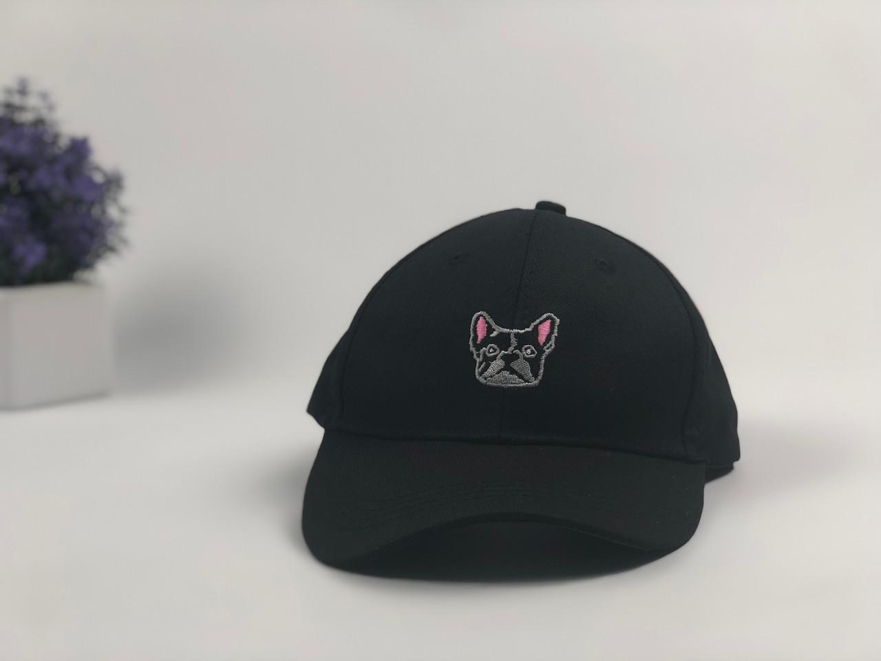 Кепка бейсболка Dog бульдог (черная)