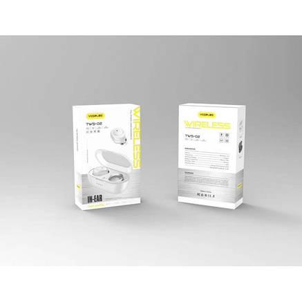 Беспроводные стерео наушники YESPLUS TWS02 Bluetooth + бокс БЕЛЫЕ, фото 2