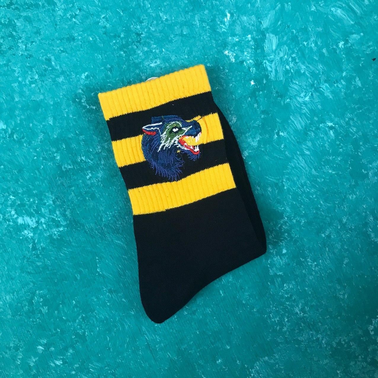 Носки Gucci Волк - Черные с оранжевыми полосками