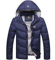 Куртка пуховик мужской adidas синяя 2ХL 3ХL