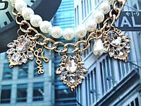 """Ожерелье """"Хелена"""" модное и красивое с кристаллами и бусинами."""