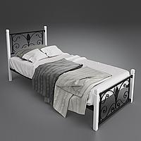 Кровать металлическая односпальная Крокус на деревянных ногах